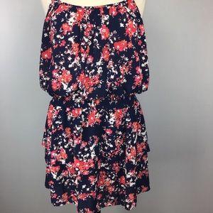 New ARIAT Blue Floral Tiered Ruffle Dress Size XXL